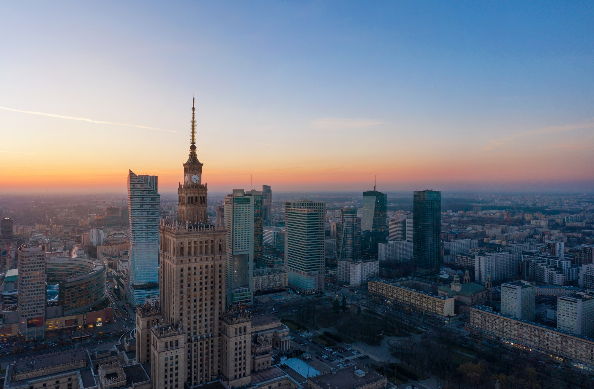 Aerial view of the business center of Warsaw: Palace of Science